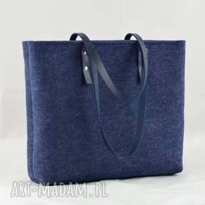 ręcznie robione na ramię filc granatowa filcowa pojemna torebka