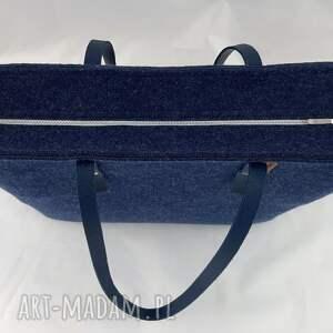ręcznie robione na ramię filcowa granatowa pojemna torebka