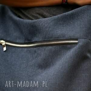 hand made na ramię torebka granatowa torba w kształcie worka