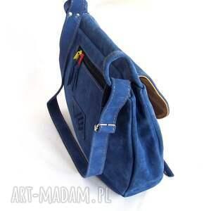 handmade na ramię zamszowa dziwonia torba