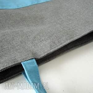 shopper na ramię turkusowe bag duo- szarość i błękit