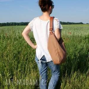 torba na ramię iks płótno beż rudy