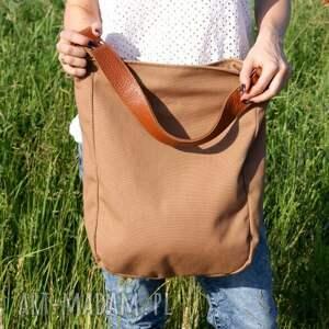 oryginalne na ramię torba iks płótno beż rudy