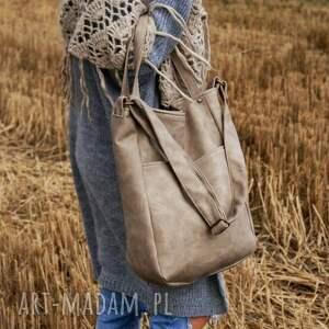 ręczne wykonanie na ramię torba iks pocket vege piaskowy