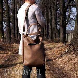 torba na ramię brązowe iks pocket brąz orzech vegan