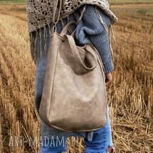 na ramię: IKS pocket vege piaskowy - torebka vegan