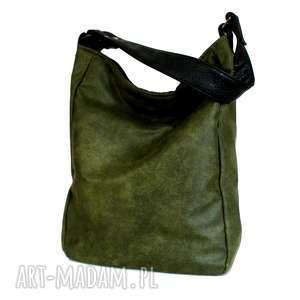 unikatowe na ramię torba iks vegan zieleń czerń