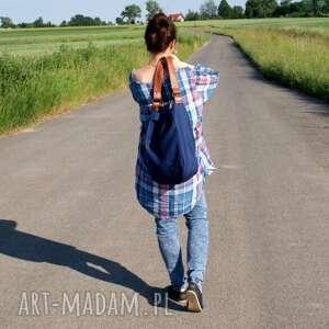 hand-made na ramię torba iks worek drelich granat rudy