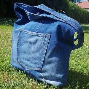 handmade na ramię jeansowa torba z kieszonkami