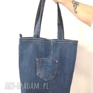 na ramię torebka jeans jeansowa torba z kieszonkami
