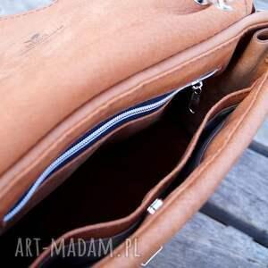 brązowe na ramię skóra józefina jasnobrązowa torba a4