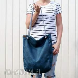 torebka na ramię niebieskie klasiks vegan morski sznurki