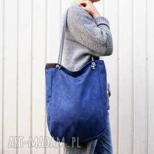 niebieskie na ramię torba klasiks vegan marine sznurki
