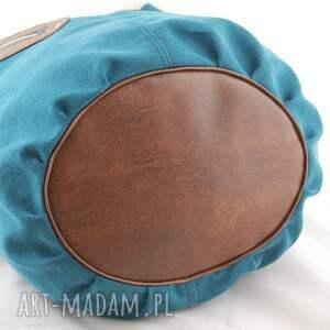 niebieskie na ramię pojemna kofi - duża torba worek turkusowa