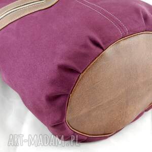 fioletowe na ramię pojemna kofi -duża torba worek - bordowa