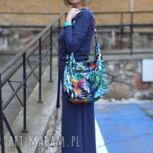 na ramię torba-wzór-liście kolorowa torba palmy papugi liście