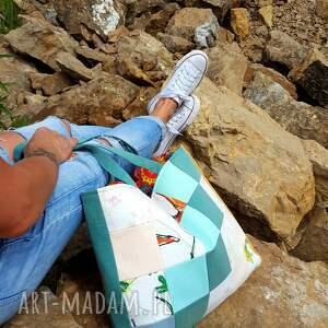 ciekawe na ramię torebka kolorowa torba z kwadracików