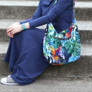 czerwone na ramię torba-ptaki kolorowa torba palmy papugi liście