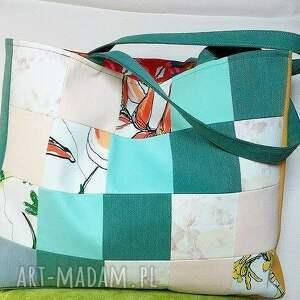 na ramię torebka kolorowa torba z kwadracików