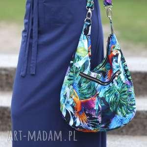 niebanalne na ramię torebka-w-papugi kolorowa torba palmy papugi liście