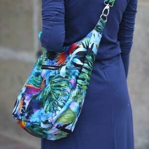 niebanalne na ramię torba-wzór-liście kolorowa torba palmy papugi liście