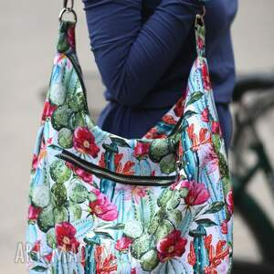 ręcznie wykonane na ramię torba wzory kolorowa kaktusy kwiaty