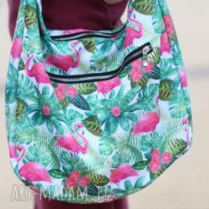 wyjątkowe na ramię torba z-flamingami wymiary torebki (rozłożonej na płasko)