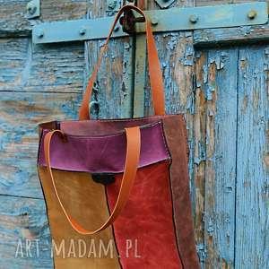 na ramię kolorowa torebka skórzana torba /worek letnie kolory wymiary