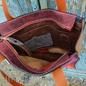 kolorowa torebka na ramię kolorowy worek skórzany