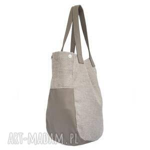 brązowe na ramię duże 24-0014 kremowa torebka damska
