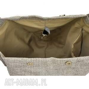 torebki na ramię 24-0014 kremowa torebka damska