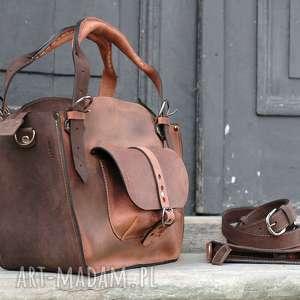 kuferek-skórzany na ramię brązowe kuferek ręcznie robiona torba