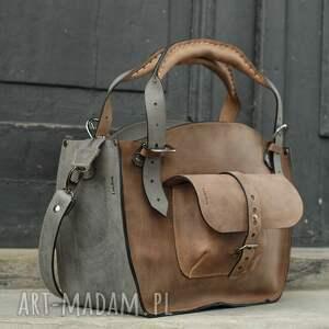 na ramię: kuferek szary i jasno brązowy idealna torba na co dzień z pięknej naturalnej dbałość-o szczegóły