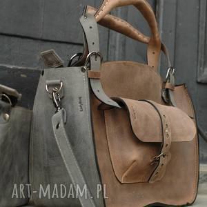 torba do biura na ramię kuferek szary i jasno brązowy