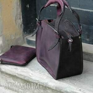 torba na ramię czerwone kuferek z organizerem skórzana