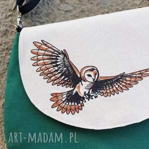 beżowe na ramię sowa listonoszka z sową haft