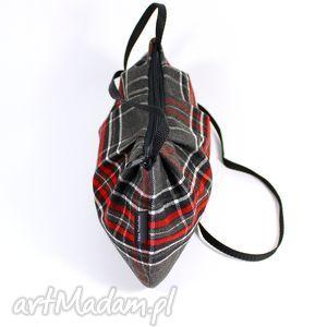 szare na ramię kratka mała marszczona torebka damska