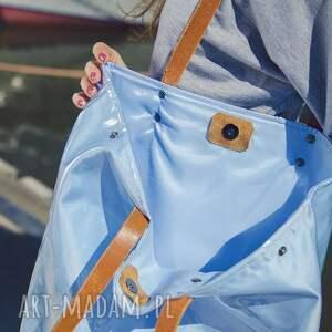 niesztampowe na ramię torba mana neon blue skórzane uszka