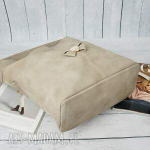 srebrne na ramię damska manzana duży worek z kokardą muflon