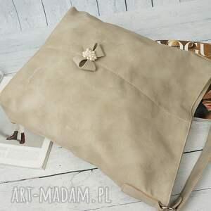 torebka na ramię brązowe manzana duży worek z kokardą muflon