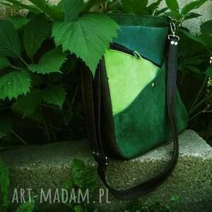 na ramię zieleni maryjanna skórzana torba odcienie