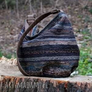 vegan na ramię brązowe torebka - worek uszyty z przepięknej kolorowej