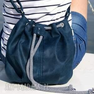 gustowne na ramię torba mini sak vegan morski sznurek