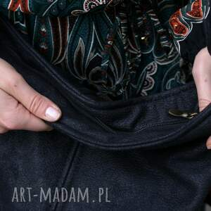 torba na ramię mini sak nubuk czerń faktura