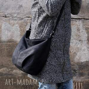 na ramię: Mini Sak vegan czerń nubuk faktura srebro torba