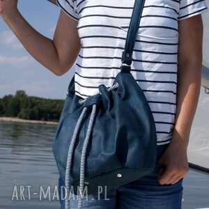 niebieskie na ramię torba mini sak vegan morski sznurek
