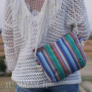 torba na ramię kolorowe mini vegan płótno paski