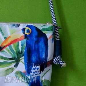 torba na ramię białe mini vegan tukany sznurek