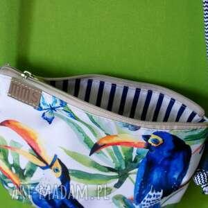 niebieskie na ramię torebka mini vegan tukany sznurek