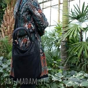 czarne na ramię torba miniks vegan czerń faktura